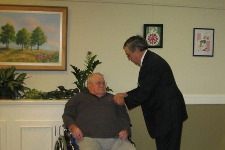 Hallman receives 50 Year Mason's Emblem of Gold and Grandmaster Pin!