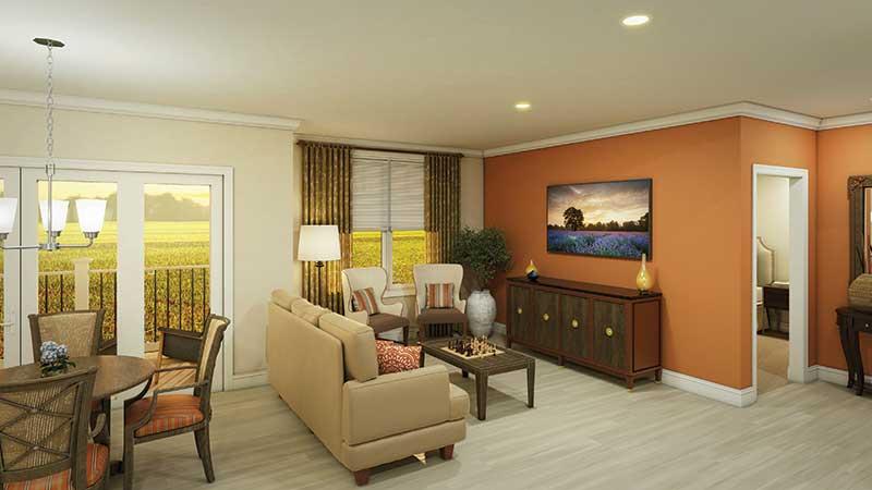 Garden Court Apartment Living Room